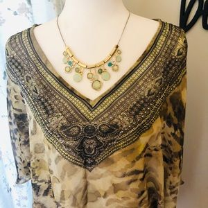 Chico-Sheer Poncho With Beaded Neckline